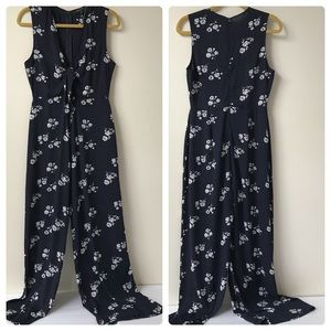 Honey Punch Blue White Floral Sleeveless Jumpsuit